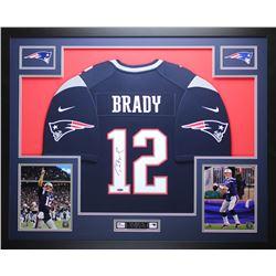 Tom Brady Signed Patriots 35x43 Custom Framed Jersey