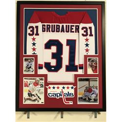Philipp Grubauer Signed Capitals 34x42 Custom Framed Jersey Display (JSA COA)