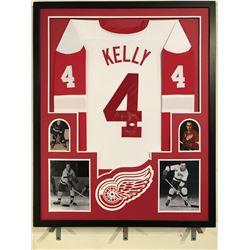 "Red Kelly Signed Red Wings 34x42 Custom Framed Jersey Display Inscribed ""HOF - 69(JSA COA)"