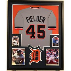 Cecil Fielder Signed Tigers 34x42 Custom Framed Jersey Display (JSA COA)