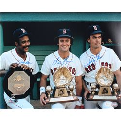 Jim Rice, Fred Lynn  Dwight Evans Signed Red Sox 16x20 Photo (JSA COA)
