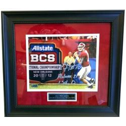 "AJ McCarron Signed Alabama Crimson 23x27 Custom Framed Photo Display Inscribed ""Alabama 21 LSU 0"" (R"