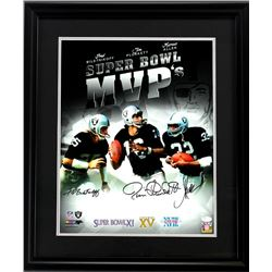 "Fred Biletnikoff, Jim Plunkett,  Marcus Allen Signed ""Super Bowl MVP's"" 23x27 Custom Framed Photo Di"