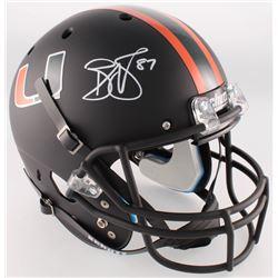 Reggie Wayne Signed Miami Hurricanes Full-Size Custom Matte Black Helmet (Radtke COA)