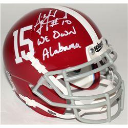 """A.J. McCarron Signed Alabama Crimson Tide Mini-Helmet Inscribed """"We Own Alabama"""" (Radtke Hologram)"""