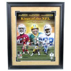 """Jerry Rice, Brett Favre  Emmitt Smith Signed """"Kings of the NFL"""" 23x27 Custom Framed Photo Display (R"""