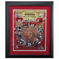 "San Francisco 49ers ""Hall of Famers"" 23x27 Custom Frame Print Signed by (11) with Joe Montana, Jerry"