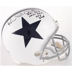 "Michael Irvin Signed Cowboys Full-Size Helmet Inscribed ""Super Bowl XXVII, XXVIII XXX Champs'"" (Radt"