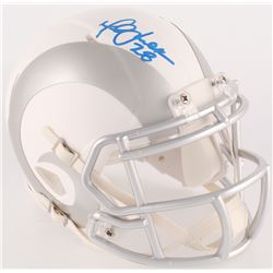 Marshall Faulk Signed Rams Custom Matte White ICE Mini Speed Helmet (Radtke COA)