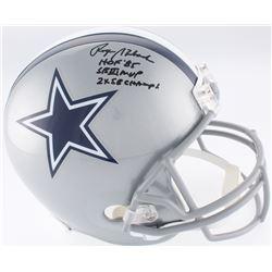 Roger Staubach Signed Cowboys Full-Size Helmet Inscribed  HOF '85 ,  SB VI MVP    2x SB CHAMPS  (JSA
