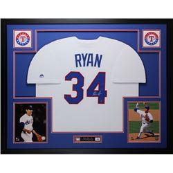 Nolan Ryan Signed Rangers 35x43 Custom Framed Jersey Display (Ryan Hologram)
