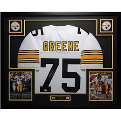 3dc7f7cf7d3 Joe Greene Signed Steelers 35 x 43 Custom Framed Jersey Inscribed HOF 87  (JSA COA