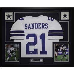 "Deion Sanders Signed Cowboys 35"" x 43"" Custom Framed Jersey (JSA COA)"