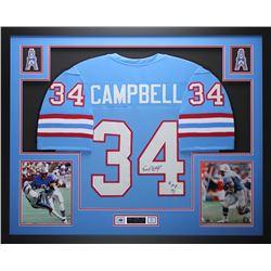 "Earl Campbell Signed Oilers 35"" x 43"" Custom Framed Jersey Inscribed ""HOF 91"" (JSA COA)"
