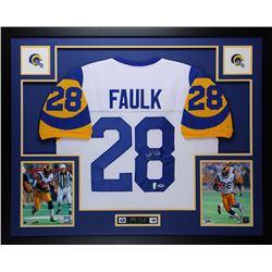 """Marshall Faulk Signed Rams 35"""" x 43"""" Custom Framed Jersey (PSA COA  Faulk Hologram)"""