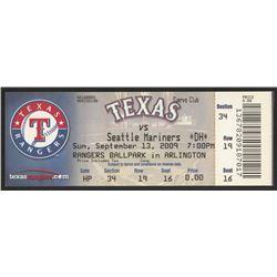 2009 Authentic Unused Rangers vs. Mariners Game Ticket