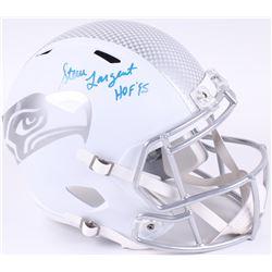 """Steve Largent Signed Seahawks Full-Size Speed White Ice Helmet Inscribed """"HOF '95"""" (JSA COA)"""