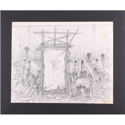 "Greg Hildebrandt Signed Black Sabbath ""Mob Rules"" 21x25 Custom Matted Original Sketch (PA LOA)"