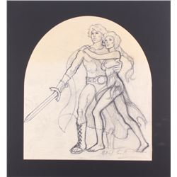 "Greg Hildebrandt Signed 1981 ""Clash of the Titans"" 21x22.5 Custom Matted Original Sketch (PA LOA)"