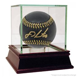J.D. Martinez Signed Black Leather Baseball (Steiner COA)