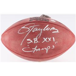 "Lawrence Taylor Signed Super Bowl XXI NFL Football Inscribed ""S.B. XXI Champs"" (Taylor Hologram  Rad"
