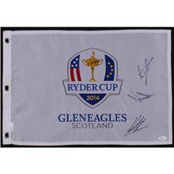 Henrik Stenson, Jamie Donaldson  Luke Donald Signed 2014 Ryder Cup Pin Flag (JSA COA)