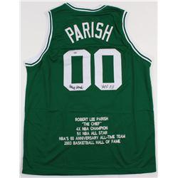 """Robert Parish Signed Celtics Career Highlight Stat Jersey Inscribed """"HOF 03"""" (Schwartz COA)"""