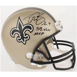"""Drew Brees Signed Saints Full-Size Helmet Inscribed """"SB XLIV MVP"""" (Radtke COA  Brees Hologram)"""