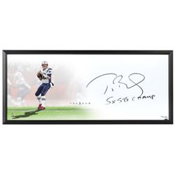 """Tom Brady Signed Patriots """"The Show"""" 20x46 Custom Framed Limited Edition Lithograph Inscribed """"5x SB"""
