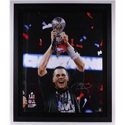 Tom Brady Signed Patriots Super Bowl LI 40x48 Custom Framed Limited Edition Photo (Steiner COA  TriS