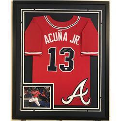 Ronald Acuna Jr. Signed Braves 34x42 Custom Framed Jersey Display (JSA COA)