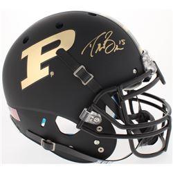 Drew Brees Signed Purdue Boilermakers Authentic Full-Size Custom Matte Black Helmet (Brees Hologram