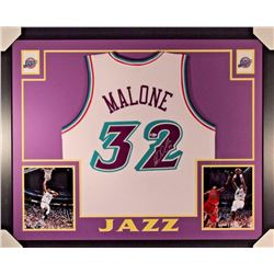Karl Malone Signed Signed Jazz 35x43 Custom Framed Jersey Display (Beckett COA)
