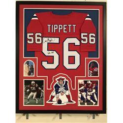 """Andre Tippett Signed Patriots 34x42 Custom Framed Jersey Display Inscribed """"Pats HOF"""" (JSA COA)"""