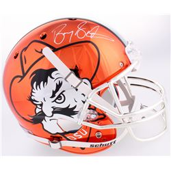 Barry Sanders Signed OK State Cowboys Throwback Pistol Pete Orange Chrome Full-Size Helmet (Schwartz