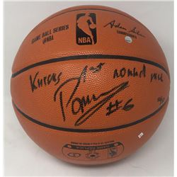 """Kristaps Porzingis Signed Limited Edition NBA Game Ball Series Basketball Inscribed """"Knicks 1st Roun"""