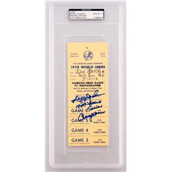 "Reggie Jackson Signed 1978 Worlds Series Yankees Press Pass Inscribed ""1977 World Series Champions"""