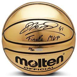 "Dirk Nowitzki Signed Limited Edition Molten Gold Trophy Basketball Inscribed ""Finals MVP"" (UDA COA)"