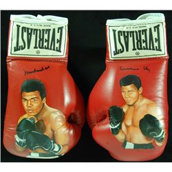 Muhammad Ali / Cassius Clay Signed Pair of Wayne Prokopiak Painted Everlast Boxing Gloves with Hand-