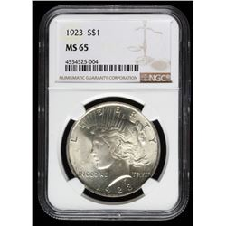 1923 Peace Silver Dollar (NGC MS 65)