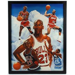 Michael Jordan Signed LE Bulls 32.75x40.75 Parson Custom Framed Giclee on Canvas Display (UD COA)