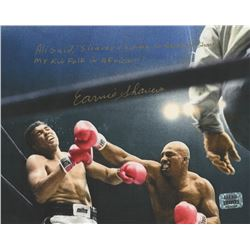 """Earnie Shavers Signed """"Muhammad Ali vs. Earnie Shavers"""" 8x10 Photo With Extensive Inscription (Shave"""