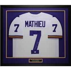 "Tyrann Mathieu Signed LSU Tigers 32"" x 37"" Custom Framed Jersey (JSA COA)"