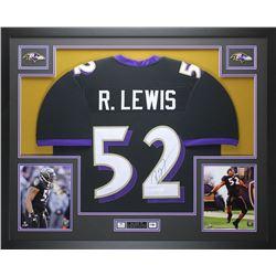 "Ray Lewis Signed Ravens 35""x43"" Custom Framed Jersey (JSA COA)"