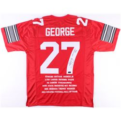 "Eddie George Signed Ohio State Career Highlight Stat Jersey Inscribed ""Heisman 1995"" (Radtke COA)"