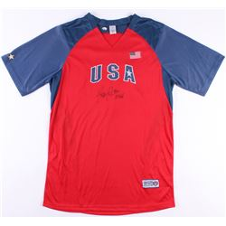 "Jennie Finch Signed Team USA Jersey Inscribed ""04 Gold"" (Radtke COA)"