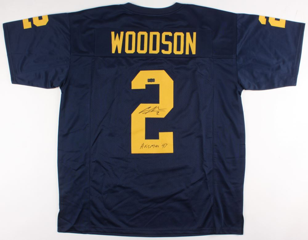 cheap for discount da5dc 942f0 Charles Woodson Signed Michigan Wolverines Jersey Inscribed