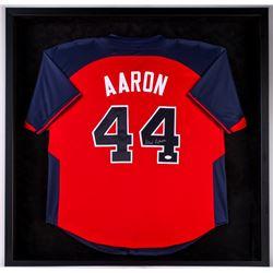 Hank Aaron Signed Braves 37.5x37.5x3.5 Custom Framed Shadowbox Jersey Display (JSA COA)