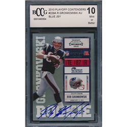 2010 Playoff Contenders #229A Rob Gronkowski AU / 499* RC/blue jsy (BCCG 10)