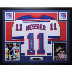 Mark Messier Signed Rangers 35x43 Custom Framed Jersey (JSA COA)